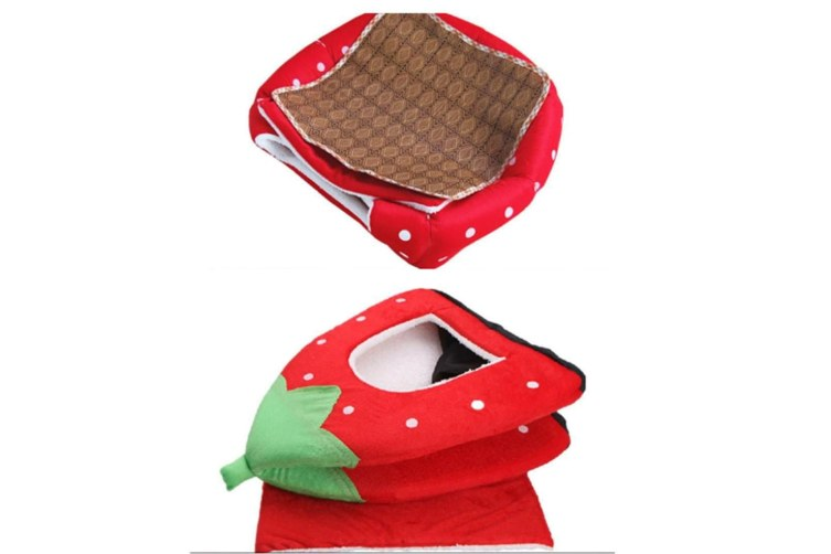 Strawberry Style Sponge House Pet Bed Dome Tent Warm Cushion Basket Pink M