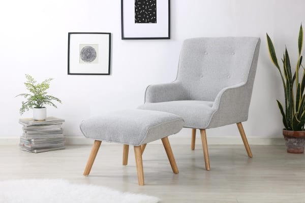 Shangri-La Milla Lounge Chair and Ottoman (Ash Grey)