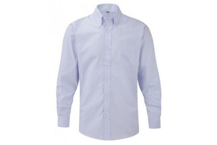 Russell Collection Mens Long Sleeve Easy Care Oxford Shirt (Oxford Blue) (16inch)