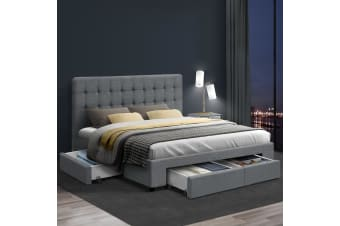 Double Full Size Bed Frame Base Mattress With Storage Drawer Fabric