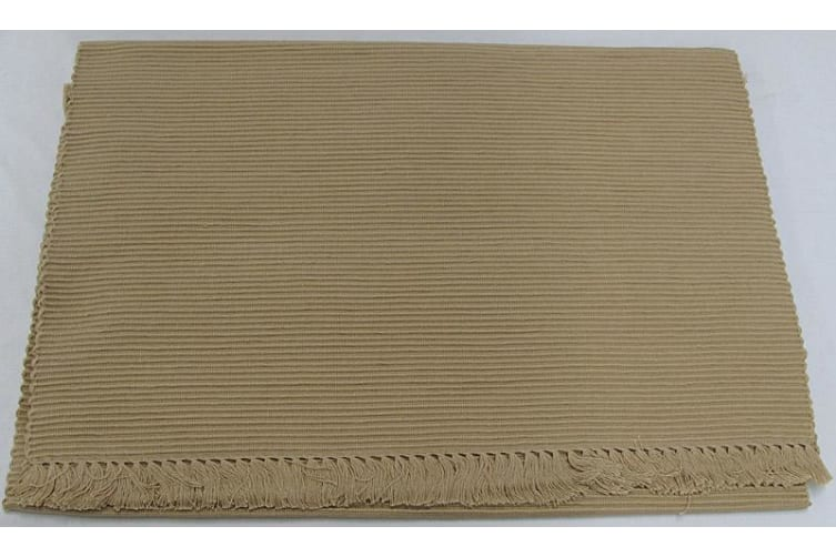 Cotton Ribbed Table Runner 45cm x 150cm - WARM SAND