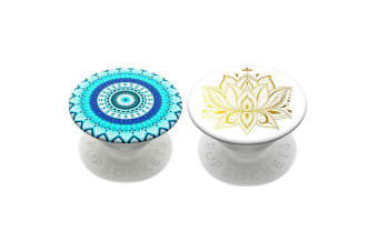 2pc PopSockets Universal Swappable PopGrip w/Base Golden Prana/Floral Mandala BL