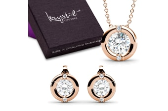 Millionaire Circle Necklace And Earrings Set Embellished with Swarovski crystals