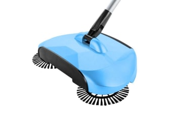 SOGA Auto Household Spin Hand Push Sweeper Home Broom Room Floor Dust Cleaner Mop Blue