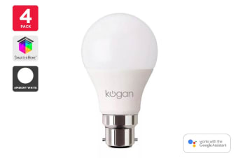 4 Pack Kogan SmarterHome™ 10W White Smart Bulb (B22)