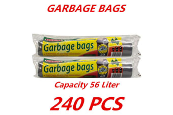 240 x 56L Heavy Duty Bin Garbage Bags Liners Rubbish Bags Black Garden Clean Rectangle