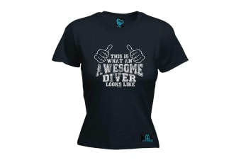 Open Water Scuba Diving Tee - This Is Awesome Diver - (Small Black Womens T Shirt)
