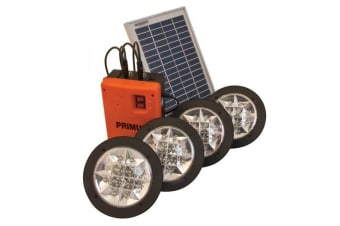 4X Portable Led Light Kit + Mobile Solar Panel & Battery Pack Camping Tent Annex