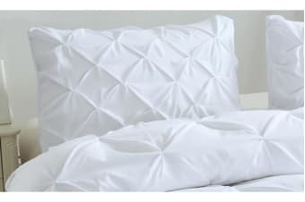 Diamond Pintuck Bed Duvet/Doo/Quilt Cover White Queen