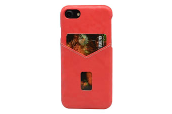 For iPhone 8 7 Case Geometric Pattern Leather Back Shell Shielding Cover Red