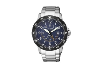Citizen Men's Promaster analog Eco-Drive Watch with Dual Time Display, Date & 12/24 hr Time - Stainless Steel/Blue (BJ7094-59L)