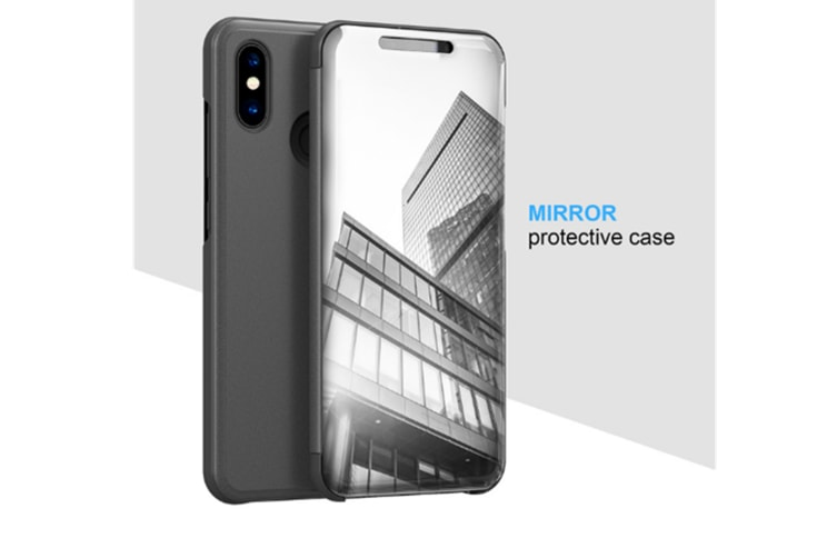 Mirror Case Translucent Flip Full Protection Mobile Phone Stand For Xiaomi Black Xiaomi6