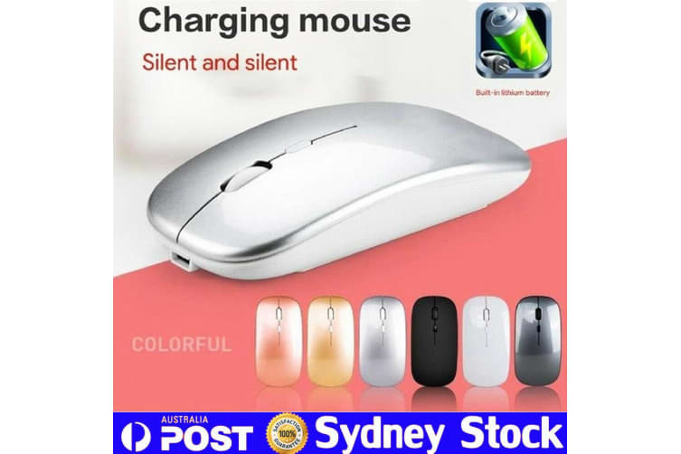Ultra-Thin Bluetooth Wireless Rechargeable Mouse Optical Cordless Mice 1600 DPI-Black