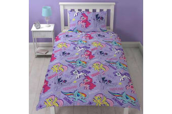 My Little Pony Movie Official Adventure Reversible Single Duvet Cover Set (Purple) (One Size)
