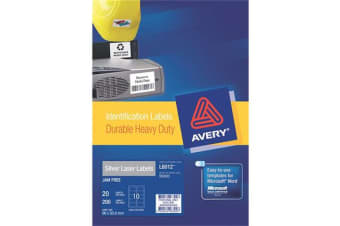 AVERY L6012-20 Identification Labels 96x50.8 - Silver HD Durable heavy duty