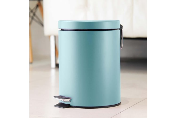 SOGA 4X 7L Foot Pedal Stainless Steel Rubbish Recycling Garbage Waste Trash Bin Round Blue