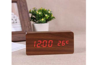 Red  Led Wooden 3 Alarm Clock + Temperature Display Usb/Battery Wood Brown 6035