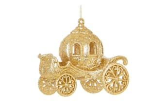 Premier Glitter Carriage Christmas Decoration (Gold)