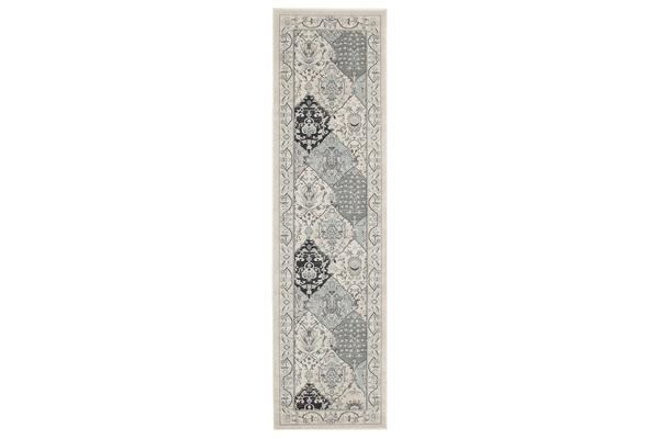 Persian Panel Design Rug Blue Navy Bone 300x80cm