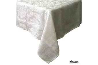 Royale Damask Table Cloth Cream 180 x 360 cm