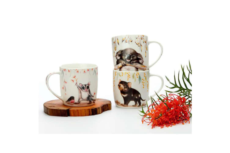 4PK Maxwell & Williams Sally Howell 340ml Mug Tea Coffee Tin GB Tasmanian Devil