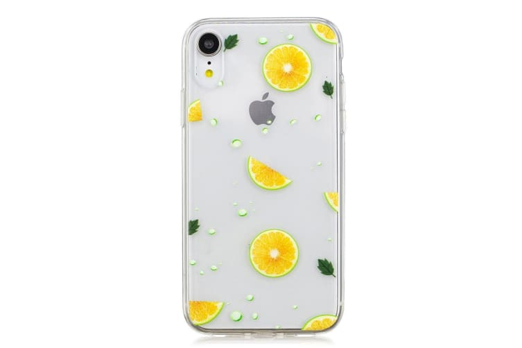 For iPhone XR Case Citrus Orange Burst Transparent Soft TPU Protective Cover