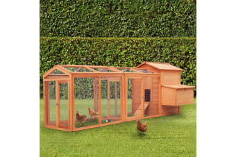 Petscene 284cm Wood Chicken Rabbit Coop Hen House Hutch Poultry Cage