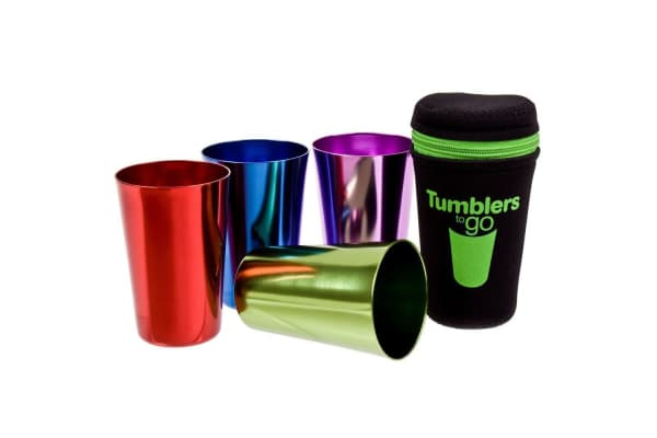 4pc D.Line Portable Aluminium Camping Drinking Tumblers Mug Drink Glasses To Go