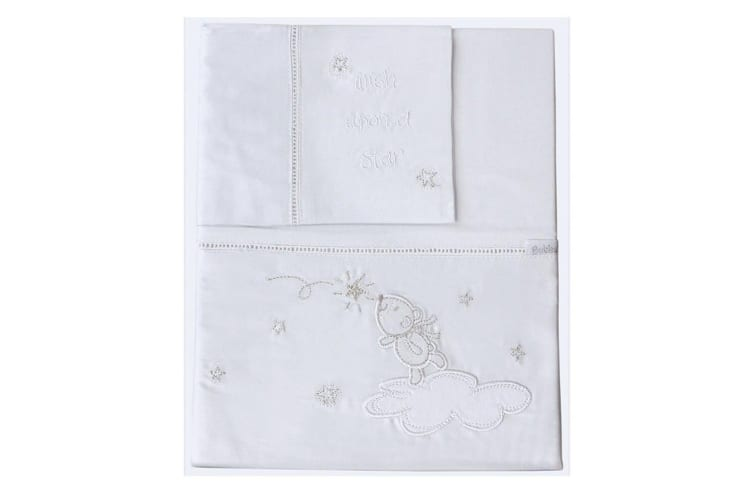 3pc Bubba Blue Cotton Wish Upon A Star Cot Bedding Sheet Set Baby/Infant White
