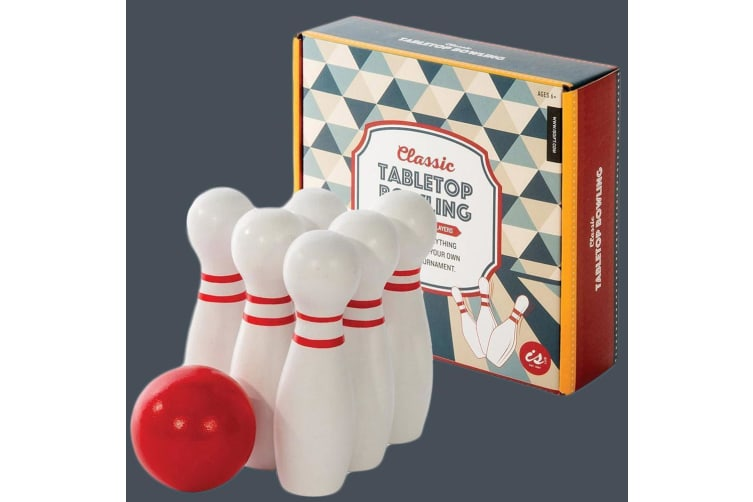 Classic Wooden Tabletop Travel Bowling Set With Carry Pouch