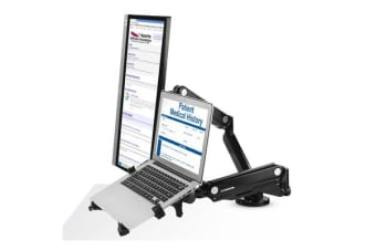 "Loctek DLB502D-2LP2 10""-27"" Single Monitor Ergonomic Gas Spring Arm With 10.1""-17.3"" Notebook"