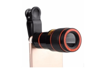 12X Zoom Optical Mobile Phone Telephoto Camera Lens with Clip - Black