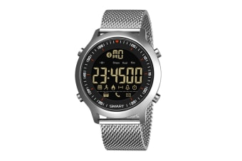 Men'S Sports Smart Watch Bluetooth Stepping Electronic Watch Silver