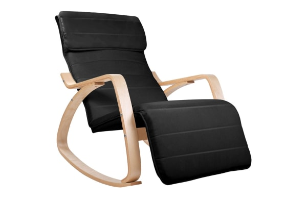 Birch Plywood Adjustable Rocking  Lounge Arm Chair with Fabric Cushion (Black)