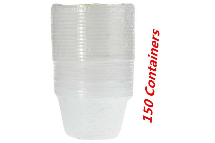 150 x Plastic Dipping Sauce Container 100ML Disposable Small Cups Lids Takeaway