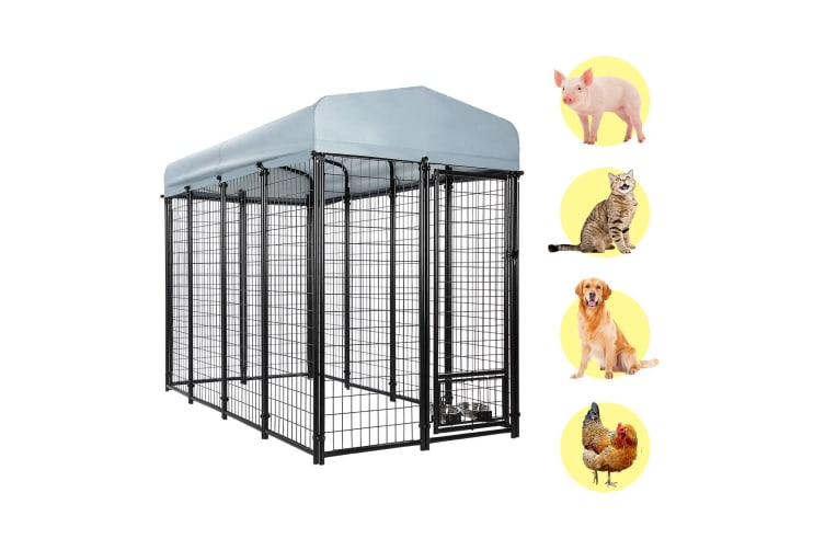 New Pet Dog Kennel Run Enclosure 2.4x1.2x1.8m Galvanised Steel Play Pen Fence w/Fabric Cover