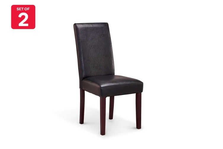 Ovela Set of 2 Kyran PU Leather Dining Chairs (Black)