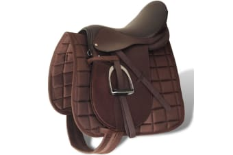 """vidaXL Horse Riding Saddle Set 16"""" Real Leather Brown 14 cm 5-in-1"""