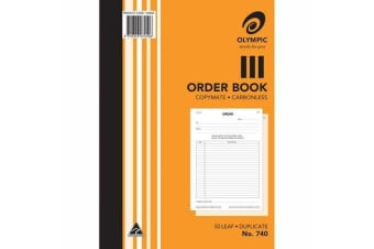 OLYMPIC 740 ORDER BOOK A4 210 X 297MM CARBONLESS DUPLICATE 50 FORMS