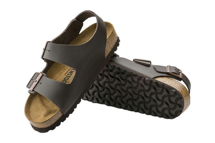 Birkenstock Unisex Milano Smooth Leather Regular Fit Sandal (Dark Brown, Size 45 EU)