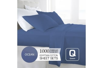 Queen Size Ocean 1000TC Egyptian Cotton Sheet Set