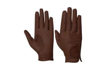 Hy5 Adults Leather Riding Gloves (Brown)