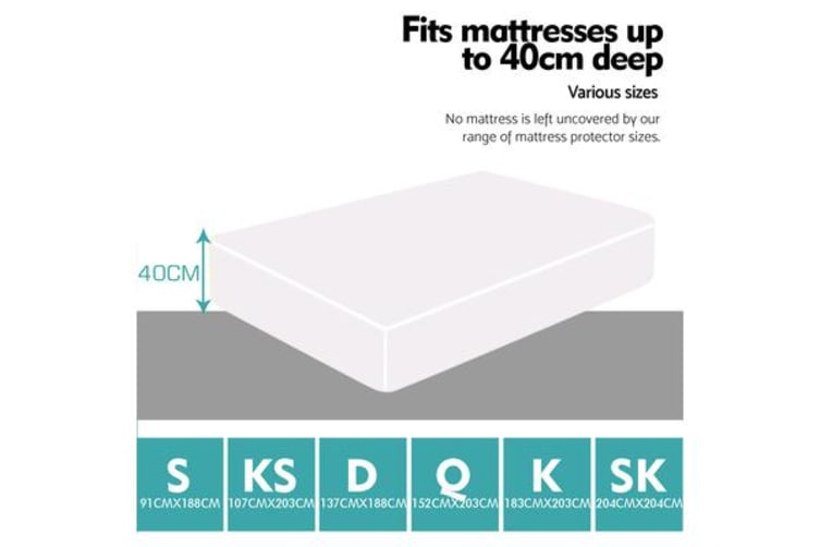 Waterproof Fitted Mattress Protector Topper Single