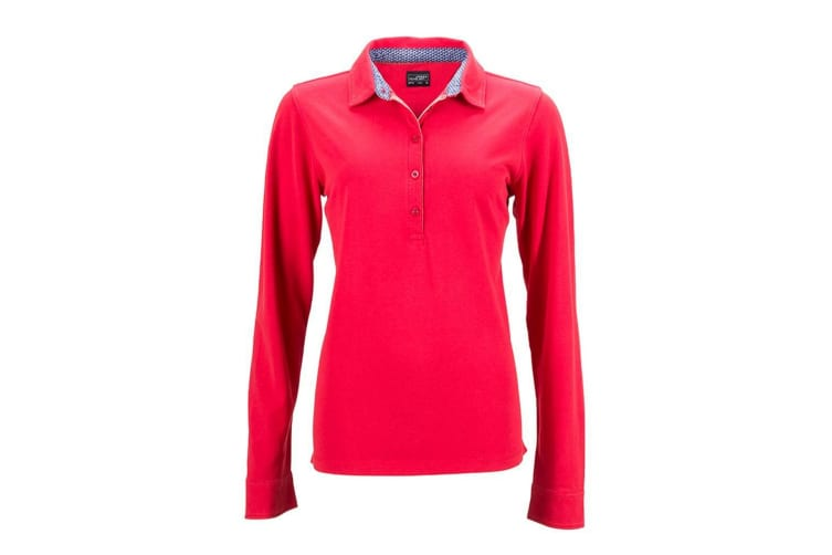 James and Nicholson Womens/Ladies Long-Sleeve Polo (Red/Blue) (XXL)