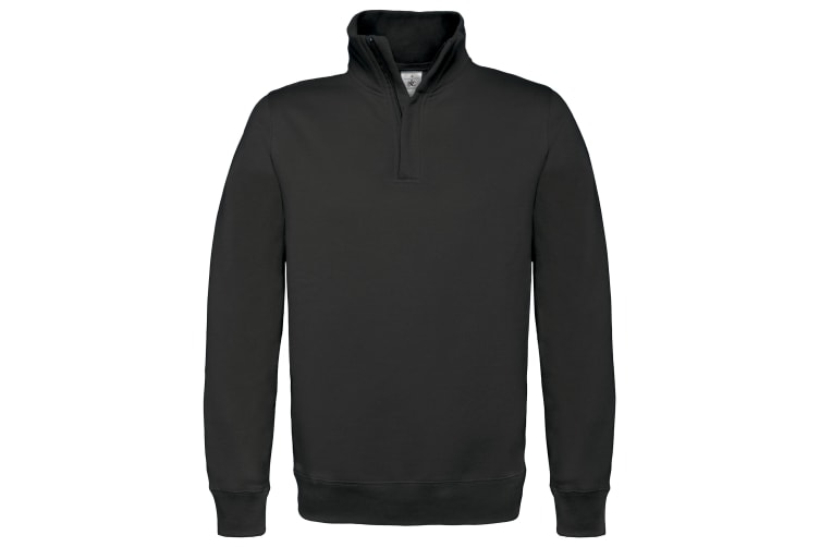 B&C Mens ID.004 1/4 Zip Sweatshirt (Black) (2XL)