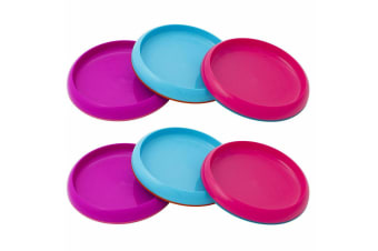 6pc Boon Baby/Toddler/Kids 9m+ Edgeless Nonskid Food/Dish Plate Pink/Purple/Blue