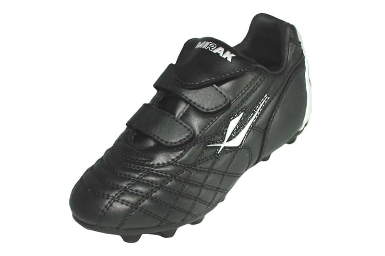 Mirak Forward Moulded / Boys Boots / Football/Rugby Boots (Black/Silver) (12 UK Junior)