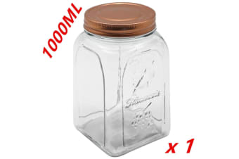 1 x 1000ml VINTAGE GLASS CANISTER ROSE GOLD LID Food Storage Cookie Kitchen Jars 1L