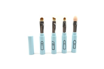 4Pcs Portable 4-In-1 Cosmetic Brush Stitching Cosmetic Brush Set - Blue Blue
