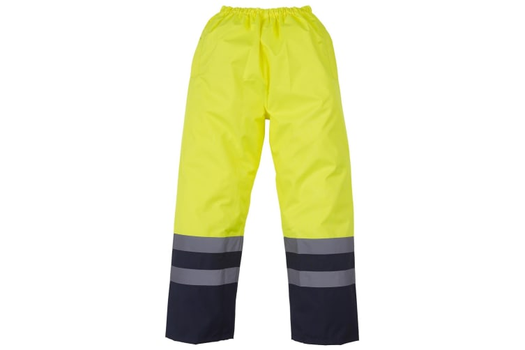 Yoko Mens Hi Vis Waterproof Overtrousers (Pack of 2) (Yellow/ Navy) (2XL)